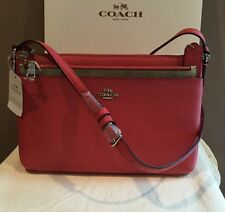 NEW COACH CROSSGRAIN LEATHER CROSSBODY PURSE STRAWBERRY F57788 W MATCHING WALLET