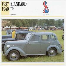 1937-1940 STANDARD TEN Classic Car Photograph / Information Maxi Card