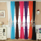 Solid Color Tulle Door Window Curtain Drape Panel Sheer Scarf Valance Excellent