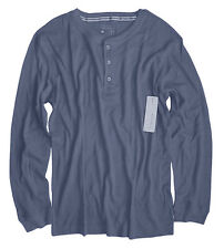 Perry Ellis - Men's L - NWT - Solid Blue Cotton Blend Thermal Henley Shirt
