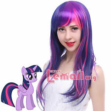 USA Ship My Little Pony Twilight Sparkle Purple/Pink Long Straight Cosplay Wig