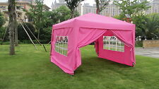 MCombo 10x10 EZ POP UP 4 WALLS CANOPY PARTY TENT GAZEBO WITH SIDES -Pink 6051