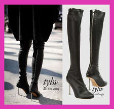 $2K CARINE ROITFELD'S MARGIELA STRETCH BLACK LEATHER LEGGING SOCK NAIL BOOT 38