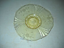 "Lovely Lancaster Yellow or Topaz 8.5"" Flower Etched Elegant Glass Plate"