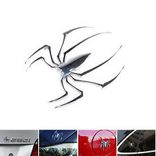 Car Auto 3D Sticker Metal Silver Spider Spiderman Chrome Decal Sticker Emblem