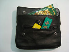 Leather Tobacco Pouch with Rubber Lining and Zip Pocket