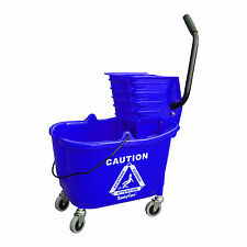 SunnyCare® 35qt Mop Bucket with Wringer: Side Press -Plastic -Blue -NEW