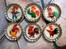 Six Cartoon Roosters Magnets on Silver Bottle Caps