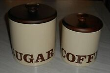 2 BRISTOL WARE CANISTERS - SUGAR & COFFEE - BEIGE TIN with WOODEN TOPS   USA
