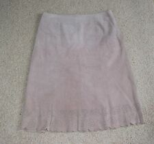 LIVE a LITTLE Light Beige Genuine Leather Suede Womens A-Line Skirt Size 12