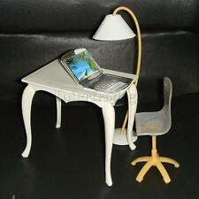 4pcs/Set Office Furniture Accs Table Chair PC Floor Lamp for Barbie Dolls