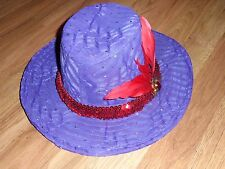 Red Hat Society / Wide Brimmed Fancy purple / sequins / feather / metallic dots