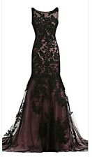 NWT Sunvary Mermaid Dress Formal Prom **Gorgeous** US Sz 8 Black Lace Appliqué