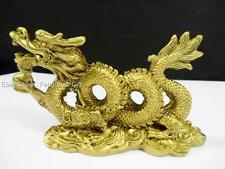 Chinese Oriental Asian Lucky Feng Shui Brass Tone Dragon Year Figurine Statue #P