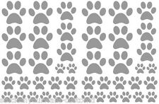 SATIN SILVER PAW PRINTS-total 44 pieces VINYL WALL DECAL STICKER DOG CAT ANIMAL
