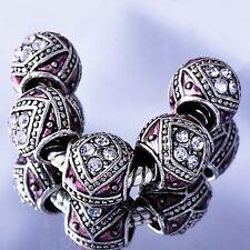 european Beads 5pcs Enamel Silver charms Gemstone Beads Lot Fit Bracelet