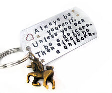 Be a Unicorn - Hand Stamped Key Chain with Brass Unicorn Charm