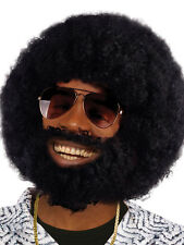 Lionel Richie Black Afro With Facial Hair Beard & Tash 70s Disco Fancy Dress New
