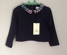 No Added Sugar Navy Blue Girls Top Size 3 Years BNWT Patterned Collar