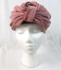 Vintage Neutral Pink Velvet Turban Womens Hat