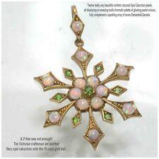 Periodo vittoriano estetica Oro Giallo 15 CARATI Opale & Demantoide Granato Ciondolo