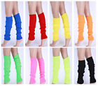 Womens Pair of Party Legwarmers Knitted Neon Knit Dance 80s Costume Leg Warmers