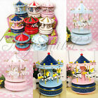 Wooden Merry-Go-Round Music Box Christmas Birthday Gift Carousel Music Box O