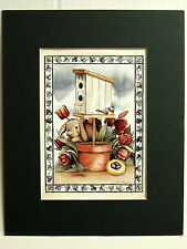 BIRDHOUSE PICTURE BUNNY RABBIT RED TULIPS BIRD NEST MATTED PRINT 8X10