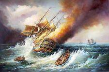 """Oil painting seascape Burning warships Corsair sail boats - Shipwreck canvas 36"""""""