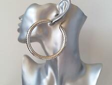SEXY! large 8cm silver tone chunky & oversized patterned hoop earrings, NEW IN!