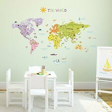 Carte du monde Wall Sticker Autocollant Décoration l'éducation géographique école country Kids