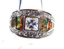 Sterling 925 Silver Size 9 Ring Orange Lab Fire Opal 5mm White Sapphire & Topaz