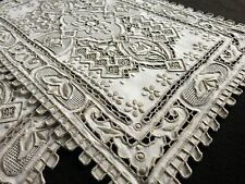 GREAT WALL Antique HEAVILY EMBROIDERED Cutwork Linen 17 pc Placemat Set DRAMATIC