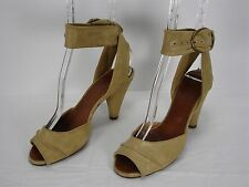 CHIE MIHARA GOLD SHIMMER NUBUCK SUEDE ANKLE STRAP PEEP TOE SHOES WOMEN'S 36.5