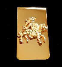 Money Clip /  Medieval Knight on Horse /  Gold Tone  Engraveable on Back