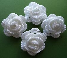WHITE CROCHET FLOWERS CRAFTS/APPLIQUE/WEDDING BOUQUET/POSY/BRIDESMAID COTTON