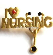 I Love Nursing Pin Brooch Stethoscope Heart Graduation Gift RN LPN CNA ARNP