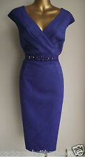 STUNNING MONSOON BLUE/PURPLE ESHA FLORAL JACQUARD LACE JEWEL BEAD SHIFT DRESS 16