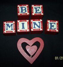 NWT 7pcs Red Heart Be Mine Blocks Valentines Day Birthday Love Anniversary