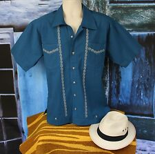 Teal & Beige Men's Guayabera Latin American Shirt Cotton, made in Mexico Casual