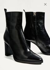 NWT ZARA Black Leather High Heel Ankle Pointy Toe Boots Sz 9/40  6100/101