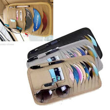 Leather Multi-Purpose Car Sun Visor Organzier Card Sunglass CD Holder Storage