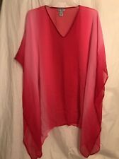 Catherines Sheer Caftan Pink Coverup One Size Poncho Chiffon Ombre Plus Size