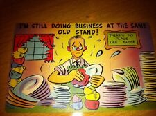 Vintage Postcard Humorous Unused Bright Colors Funny Poor Guy Washing Dishes