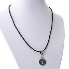 1PC Black Leather Cord Necklace Tree of Life Pendant Charm Silver Tone 43cm