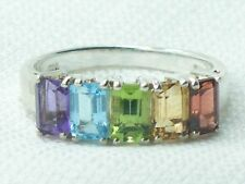 Estate Vintage Sterling Silver CNA Signed Rainbow Gemstone Amethyst Citrine Ring