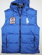 Polo Ralph Lauren Mens Royal Blue Big Pony Down Hoodie Jacket Vest NWT $245 L