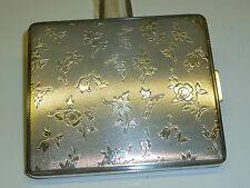 VINTAGE SILVER CIGARETTE CASE W. BEAUTIFUL FLOWER ENGRAVINGS - ZIGARETTENETUI