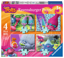 New! 06864 Ravensburger Trolls Movie Jigsaws 4 in a Box Puzzles Children Kids 3+