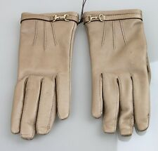 NEW Authentic GUCCI Leather Gloves w/Horsebit Detail, 7, Tan, 245927